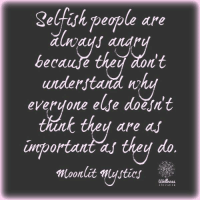 Maybe not always...: Selfish people are  becaufe  n't  understand nh  everyone elfe doesnt  are as  unportant as they do  Moonlit estics Maybe not always...