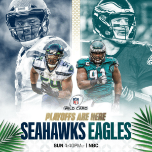#Seahawks #FlyEaglesFly  Let's do this. #WeReady  📺: #SEAvsPHI -- SUNDAY 4:40pm ET on NBC 📱: NFL app // Yahoo Sports app https://t.co/X8jbtKanY5: SELHAWK  SEAHANKS  (WILD CARD  PLAYOFFS ARE HERE  SEAHAWKS EAGLES  SUN 4:40PMET | NBC #Seahawks #FlyEaglesFly  Let's do this. #WeReady  📺: #SEAvsPHI -- SUNDAY 4:40pm ET on NBC 📱: NFL app // Yahoo Sports app https://t.co/X8jbtKanY5