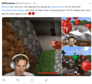 Animals, Smh, and Twitter: SellCocaine @SellCocaine 2m  @peta how are you not seeing this abuse by @pewdiepie to his animals  #Justice4watersheep and look at that mass overpopulation of his sheep and cows  like its some game smh  Ywww T3 When pewdiepie is exposed on twitter