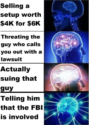 FBI open up: Selling aa  setup worth  $4K for $6K  Threating the  guy who calls  you out with a  lawsuit  Actually  suing that  guy  Telling him  that the FBI  is involved FBI open up