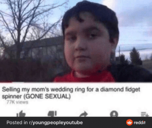 Moms, Reddit, and Diamond: Selling my mom's wedding ring for a diamond fidget  spinner (GONE SEXUAL)  77K views  Posted in r/youngpeopleyttube  reddit Gone sexual