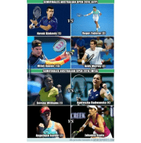 Memes, Roger, and Serena Williams: SEMIFINALES AUSTRALIAN OPEN 2016 (ATP)  Vs  Novak Djokovic 1  Roger Federer 13)  内  Miloš Raonic (13)  Andy Murray [2)  SEMIFINALES AUSTRALIAN OPEN 2016 (WTA  VS  Serena Williams (11  Agnieszka Radwanska 14)  REEK  VS  Angelique Kerber 7  Johanna Konta  Más parecides razonobles en MEMEDEPORTES.COM Los encuentros de las semifinales del Abierto de Australia. ¿Quién es tu favorito(a)? AngeliqueKerber-JohannaKonta ATP AustralianOpen comenta GrandSlam MilosRaonic-AndyMurray NovakDjokovic-RogerFederer semifinales SerenaWilliams-AgnieszkaRadwanska WTA humor memedeportes memondo