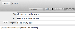 rabies: Send Cancel  Helvetica  | | 12# | |  | | B | 1 | U | |  |-|  To: all the cats in the world  Cc: even if you have rabies  Subject: hello pretty cats  please come over to my house i am so lonely