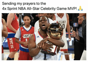 Hoping for a speedy recovery for Kevin Hart! 🙏: Sending my prayers to the  4x Sprint NBA All-Star Celebrity Game MVP!  ENYC  @NBAMEMES  NYC 15 Hoping for a speedy recovery for Kevin Hart! 🙏