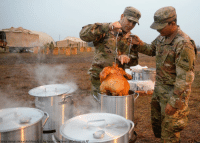 Memes, Soldiers, and Thanksgiving: Senior Airman Alexandra Minor/U.S. Air Force/Department of Defense via AP @usarmy soldiers with the 289th Composite Supply Company in Ft. Hood, Texas, deep fry a turkey on Thanksgiving Day in Donna, Texas. The soldiers are part of Operation Faithful Patriot where they provide a range of support including planning assistance, engineering support, equipment and resources to assist the Department of Homeland Security along the southwest U.S. border.