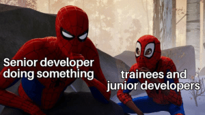 As a junior I can relate with this: Senior developer  doing something  trainees and  junior developers As a junior I can relate with this