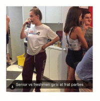 Funny, Girls, and Party: Senior vs freshmen girls at frat parties Double tap for more