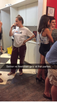 Funny, Girls, and Party: Senior vs freshmen girls at frat parties Senior Girls vs Freshmen Girls