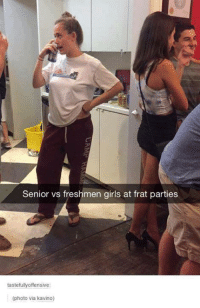 Dank, 🤖, and Senior: Senior vs freshmen girls at frat parties  tastefully offensive:  (photo via kavino)