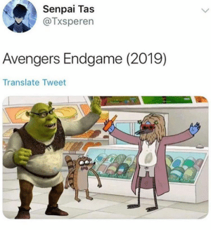 Avengers, Senpai, and Translate: Senpai Tas  @Txsperen  Avengers Endgame (2019)  Translate Tweet