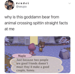 That hurt: sensei  @seupo  why is this goddamn bear from  animal crossing spittin straight facts  at me  Maple  Just because two people  are good friends doesn't  mean they'd make a good  couple, honey. That hurt