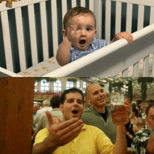 Old, Oktoberfest, and Son: Sent my bro a pic of my 9-mo old son; he immediately dug up a pic of me 15 years earlier at Oktoberfest.