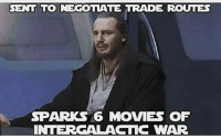 Congratulations Qui Gon😂😂 Pic via: @starwars_general starwars phantommenace attackoftheclones revengeofthesith anewhope empirestrikesback returnofthejedi theforceawakens rogueone quigonjinn liamneeson anakinskywalker darthvader obiwankenobi: SENT TO NEGOTTATE TRADE ROUTES  SPARKS 6 MOVIES OF  INTERGALACTIC WAR Congratulations Qui Gon😂😂 Pic via: @starwars_general starwars phantommenace attackoftheclones revengeofthesith anewhope empirestrikesback returnofthejedi theforceawakens rogueone quigonjinn liamneeson anakinskywalker darthvader obiwankenobi