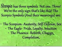 Sex, Work, and Eagle: Seonpio has three symbols. Not one. Three!  We're the only sign that's like this! The  Scorpio Symbol  (And their meanings) are:  The Scorpion- Austerity,  self Defense, sex  The Eagle- Pride, Loyalty, intuition  The Phoenix-Rebirth, Change  Completion, Jan 18, 2017. Some of you will have to work harder in order to catch up what they missed, and . ...FOR FULL HOROSCOPE VISIT: http://horoscope-daily-free.net