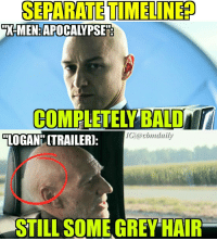 """Separate timeline confirmed for """"Logan""""?? In """"X-men: Apocalypse"""" Charles permanently lost his hair when apocalypse was trying to transfer to his body! However in the """"Logan"""" trailer we clearly see a Charles that's just bald of old age! What do you guys think? ~Red Hood • Creator-Credit: @cbmdaily and @daily.memez • Follow @daily.memez ;) Tag people Like & comment For More! xmen professorx cyclops phoenix storm wolverine jeangray charlesxavier xavier xvaierschool magneto mystique nightcrawler apocalypse daysofthefuturepast quicksilver angel gambit follow4follow loganmovie like4like x23 logantrailer logan patrickstewart jamesmcavoy erikmagnus deadpool colosus xmenmansion: SEPARATE TIMELINED  X-MEN APOCALYPSE  COMPLETELY BALD  LOGAN CTRAILER):  STILL SOME GREY HAIR Separate timeline confirmed for """"Logan""""?? In """"X-men: Apocalypse"""" Charles permanently lost his hair when apocalypse was trying to transfer to his body! However in the """"Logan"""" trailer we clearly see a Charles that's just bald of old age! What do you guys think? ~Red Hood • Creator-Credit: @cbmdaily and @daily.memez • Follow @daily.memez ;) Tag people Like & comment For More! xmen professorx cyclops phoenix storm wolverine jeangray charlesxavier xavier xvaierschool magneto mystique nightcrawler apocalypse daysofthefuturepast quicksilver angel gambit follow4follow loganmovie like4like x23 logantrailer logan patrickstewart jamesmcavoy erikmagnus deadpool colosus xmenmansion"""