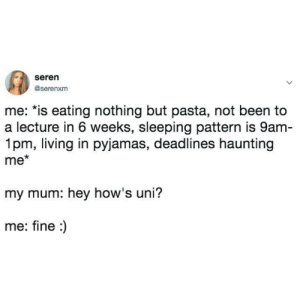 Tumblr, Http, and Sleeping: seren  @serenxm  me: *is eating nothing but pasta, not been to  a lecture in 6 weeks, sleeping pattern is 9am  1pm, living in pyjamas, deadlines haunting  me*  my mum: hey how's uni?  me: fine:) If you are a student Follow @studentlifeproblems​