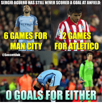 Memes, 🤖, and Man City: SERGIO AGUERO HAS STILL NEVER SCORED A GOAL AT ANFIELD:  ETTIHAD  AIRWAY  6 GAMES FOR  LFP  GAMES  MAN CITY FORATLETICO  asoccerclub  O GOALS FOR EITHER Maybe next year for Aguero? 🤔😉