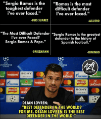 "Confidence 😂: ""Sergio Ramos is the""Ramos is the most  difficult defender  I've ever faced.""  toughest defender  i've ever faced.""  -LUIS SUAREZ  AGUERO  he Most Difficult Defender ""Sergio Ramos is the greatest  I've ever Faced?  Sergio Ramos & Pepe.""  defender in the history of  Spanish football.""  -GRIEZMANN  -JUNINHO  ORGANIZATION  SONY  NISSA  M Helneken  ALKERS UnCredit  it  SONY  com  DEJAN LOVREN:  ""BEST DEFENDERIN THE WORLD?  FOR ME, DEJAN LOVREN IS THE BEST  DEFENDER IN THE WORLD."" Confidence 😂"