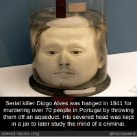 Facts, Head, and Memes: Serial killer Diogo Alves was hanged in 1841 for  murdering over 70 people in Portugal by throwing  them off an aqueduct. His severed head was kept  in a jar to later study the mind of a criminal.  weird-facts org  @facts weird