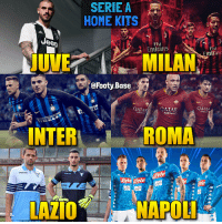 Serie A kits 🇮🇹 Your favourite? 👀 Follow @footy.base ✅: SERIEA  HOME KITS  Uee0  Fly  Emirates  Fly  mirave  Fl  @Footy Base  OATAR  OATAR  AIRWAY  QATAR  AIRWAY  ALD  IROMA  NTER  Lete Cete  LAZIO  NAPOL Serie A kits 🇮🇹 Your favourite? 👀 Follow @footy.base ✅