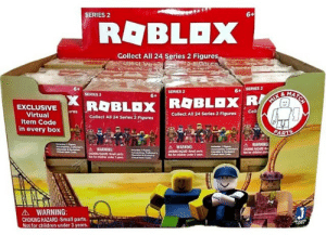 Roblox - Mystery Figures Series 2 - Toys + Collectables » Toys ...: SERIES  Collect All 24 Series 2 Figure  6+ SERIES 2  SERIES 2  SERIES 2  6+  EXCLUSIVE ures  Item Code  in every box  Collect All 24 Series 2 FiguresColl  Collect All 24 Series 2 Figures  WARNING:  :14. WARNING:  소 WARNING:  CHOKING HAZARD-Small parts.  Not for children under 3 years. Roblox - Mystery Figures Series 2 - Toys + Collectables » Toys ...