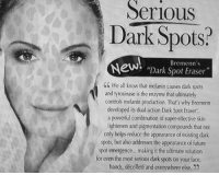 """Future, Tumblr, and Blog: SeriouS  Dark Spots?  Bremenn's  """"Dark Spot Eraser""""  C We all know that melanin causes dark spots  and tyrosinase is the enzyme that ultimately  controls melanin production. That's why Bremenn  developed its dual-action Dark Spot Eraser  a powerful combination of super-effective skin  lighteners and pigmentation compounds that not  only helps reduce the appearance of existing dark  spots, but also addresses the appearance of future  spot emergence.. .making it the ultimate solution  for even the most serious dark spots on your face,  hands, décolleté and everywhere else. 2 <p><a href=""""http://memehumor.tumblr.com/post/151072898803/it-even-works-on-the-leopard-lady"""" class=""""tumblr_blog"""">memehumor</a>:</p>  <blockquote><p>It even works on the Leopard Lady.</p></blockquote>"""