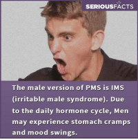 pms: SERIOUSFACTS  The male version of PMS is IMS  irritable male syndrome). Due  to the daily hormone cycle, Men  may experience stomach cramps  and mood swings.