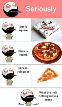 Nothing Makes Sense: Seriously  Box is  square  Pizza is  round  Slice is  traingular  What the hell!  Nothing makes  Sense