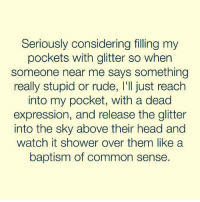 baptism: Seriously considering filling my  pockets with glitter so when  someone near me says something  really stupid or rude,I'I just reach  into my pocket, with a dead  expression, and release the glitter  into the sky above their head and  watch it shower over them like a  baptism of common sense.