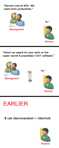 "Work, Null, and Software: ""Servers only at 40%. We  need more productivity.'""  Managment  Worker  ""Here's an award for your work on the  super secret & proprietary 'CAT' software.'  Managment  Worker  EARLIER  $ cat Idev/urandom > Idev/null  Worker cat initiative"
