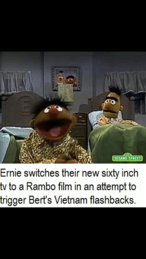 "Rambo, Reddit, and Sesame Street: SESAME STREET  Ernie switches their new sixty inch  tv to a Rambo film in an attempt to  trigger Bert's Vietnam flashbacks. ""GUNFIRE CONTINUES"""