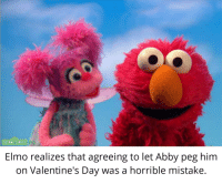 Elmo: SESAME STREET  on  Elmo realizes that agreeing to let Abby peg him  on Valentine's Day was a horrible mistake.