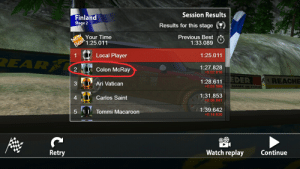 Who?: Session Results  Finland  Stage 2  Results for this stage  Your Time  e1:25.011  Previous Best  1:33.089  1:25.011  Local Player  Colon McRay  Ari Vatican  Carlos Saint  1:27.828  +0:02816  2  3  4  5 FUT Tommi Macaroon  1:28.611  +0:03.599  EDER  REACHE  NAM  1:31.853  0:06.841  1:39.642  +0:14.630  Retry  Watch replay Continue Who?