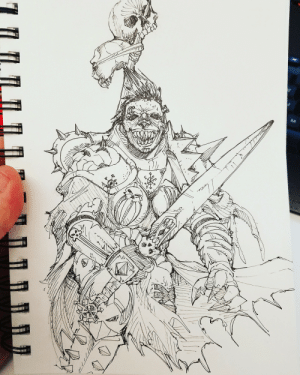 Tumblr, Blog, and Her: sessionzeroart:  Lunchtime sketch of a Khornate Sister of Battle. Still kinda think her armor could be more Chaos-twisted but I had to do it kinda fast :)