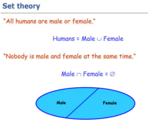 "Time, Set, and All: Set theory  All humans are male or female  Humans Male Female  ""Nobody is male and female at the same time  Male , Female  Male  Female Triggered!"