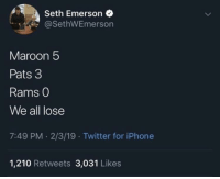 Iphone, Mood, and Super Bowl: Seth Emerson  @SethWEmerson  Maroon 5  Pats 3  Rams O  We all lose  7:49 PM. 2/3/19 Twitter for iPhone  1,210 Retweets 3,031 Likes Super Bowl halftime mood