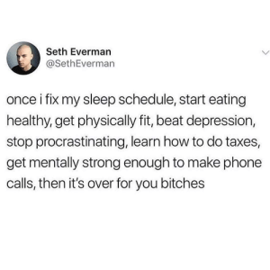Meirl by thenintenkid MORE MEMES: Seth Everman  @SethEverman  once i fix my sleep schedule, start eating  healthy, get physically fit, beat depression,  stop procrastinating, learn how to do taxes,  get mentally strong enough to make phone  calls, then it's over for you bitches Meirl by thenintenkid MORE MEMES
