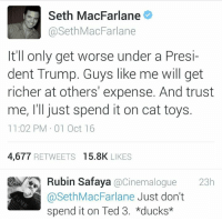 Memes, Seth MacFarlane, and Ted: Seth MacFarlane  @Seth MacFarlane  It'll only get worse under a Presi-  dent Trump. Guys like me will get  richer at others' expense. And trust  11:02 PM 01 Oct 16  4,677  RETWEETS  15.8K  LIKES  Rubin Safaya  @Cinemalogue  23h  @Seth MacFarlane  Just don't  spend it on Ted 3. *ducks*
