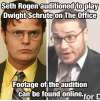 Memes, Seth Rogen, and The Office: Seth  Rogen  auditioned  to  play  DwightSchrute  on The Office  Footage of the audition  can be found oniline.forD Bears, beets, Battlestar Galactica.