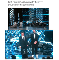 sethrogen 🙌: Seth Rogen in Air Mags with the BTTF  DeLorean in the background  NANA  bc sethrogen 🙌