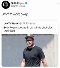 Funny, News, and Rude: Seth Rogen  @Sethrogen  Ummm wow, okay  LAKTV News @LAKTVNews  Seth Rogen spotted in LA, a little chubbier  than usual RUDE https://t.co/kfxc3snM0y