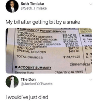 $150,000 😳😭 https://t.co/e4PDVmspzV: Seth Timlake  @Seth_Timlake  My bill after getting bit by a snake  1-SUMMARY OF PATIENT SERVICES  contact ou  status of  PHARMACY  LABORATORY SERVICES  INTERMED  $22.433,00FREC  $17.766.00 A. Yet  a. Ca  $947.00 A. Ye  TENIEDIATE CARE ROOM $21 225.00.Can  CARE ROOM  EMERG  RADIOLOGY  SPECIAL SERVICES  THERENCY CARE SERVICES 64.00  THERAPY SERVICES  $462.00  TOTAL CHARGES  $153,161.25 A. P  @memezar  ■ ACCOUNT SUMMARY  ervice Data  07104/15 to 07/09/15  The Don  @JackedYaTweets  I would've just died $150,000 😳😭 https://t.co/e4PDVmspzV