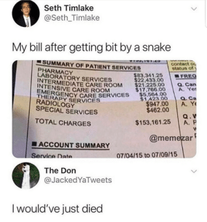 meirl by colza90 MORE MEMES: Seth Timlake  @Seth_Timlake  My bill after getting bit by a snake  SUMMARY OF PATIENT SERVICES  PHARMACY  LABORATORY SERVICES  contact ou  status of  83.341.25 | ■FREQ  $22.433.00  INTERMEDIATE CARE ROOM  INTENSIVE CARE ROOM  EMERGE  ENCY CARE SERVICES $54.00  $1,423.00  21.225.00 . Can  $17,766.00A. Yet  THERA  a. Ca  $947.00 A. Y  $153,161.25 A. P  @memezar  RADIOLOGY  SPECIAL SERVICES  $462.00  TOTAL CHARGES  ■ ACCOUNT SUMMARY  Service Date  07/04/15 to 07109/15  The Don  @JackedYaTweets  I would've just died meirl by colza90 MORE MEMES