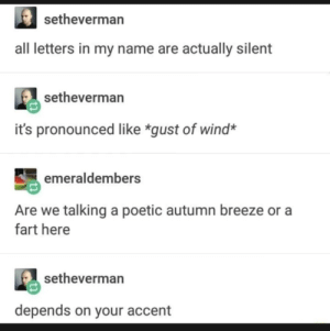 wooosh: setheverman  all letters in my name are actually silent  setheverman  it's pronounced like *gust of wind*  emeraldembers  Are we talking a poetic autumn breeze or a  fart here  setheverman  depends on your accent wooosh