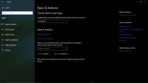 I shouldn't have to explain how hard this was to upload: Settings  O  X  Apps & features  A Home  Related settings  Find a setting  Choose where to get apps  Programs and Features  Installing apps only from Windows Store helps protect your device.  Apps  Anywhere  Have a question?  E Apps & features  Updating apps  5 Default apps  Apps & features  Troubleshooting Microsoft Store  apps  Optional features  m Offline maps  Uninstalling apps  Changing startup apps  App execution aliases  A Apps for websites  Get help  Search, sort, and filter by drive. If you would like to uninstall or  move an app, select it from the list.  O Video playback  Make Windows better  Search this list  9 Startup  Give us feedback  Sort by: Name v  Filter by: All drives v  We couldn't find anything to show here. Double check your search  criteria. I shouldn't have to explain how hard this was to upload