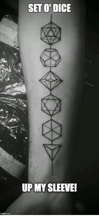 Dungeon Master for life..! My friend Timothy got inked to prove it! <3 #polysettattoo: SETTO DICE  UP MY SLEEVE! Dungeon Master for life..! My friend Timothy got inked to prove it! <3 #polysettattoo