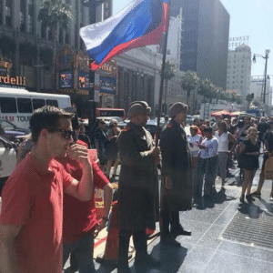 Soldiers, Heat, and Star: SEVELT  delli  M TOU 2 guys dressed as russian soldiers in 90F heat to protect Trumps Hollywood Walk Of Fame star from vandalism. Thats next level trollism!
