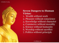 Worth contemplating :: Seven Dangers to Human  Virtue:  1. Wealth without work  2. Pleasure without conscience  3. Knowledge without character  4. Commerce without morality  5. Science without humanity  6. Worship without sacrifice  7. Politics without principle  e-buddhism com Worth contemplating :