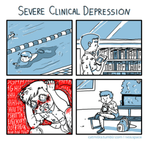 "Bad, Energy, and Life: SEVERE CLINICAL DEPRESSION  1)  HUTTH  catmilks.tumblr.com ivos.space elfgrandfather: catmilks:   that thursday feeling. reading depressioncomix inspired me to do a little comic about my own day-to-day experience.   I've seen some comments on this being like ""Oh he's way too active this isn't how severe clinical depression works!"" which makes me a little sad because implying everyone's experience of depression must be just like yours is insulting. This comic is about how depression still deeply affects me despite my attempts at a normal life but that it becomes almost mundane, you take a break to cry and scream and feel sorry for yourself but then you have to go back to doing whatever. I have almost no energy but I gotta live. Saying you need to constantly be at your lowest and most dysfunctional in order to have Real Clinical Depression isn't realistic. Learning to cope with this illness that will likely haunt me my whole life isn't a bad thing."