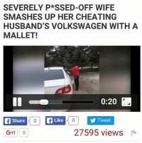 (link in my bio ) must watch video this video is crazy lol go watch it now! ( hoodclips.com ): SEVERELY P*SSED-OFF WIFE  SMASHES UP HER CHEATING  HUSBAND'S VOLKSWAGEN WITH A  MALLET!  0:20 LA  A Share  400 f Like  0 Tweet  27595 views (link in my bio ) must watch video this video is crazy lol go watch it now! ( hoodclips.com )